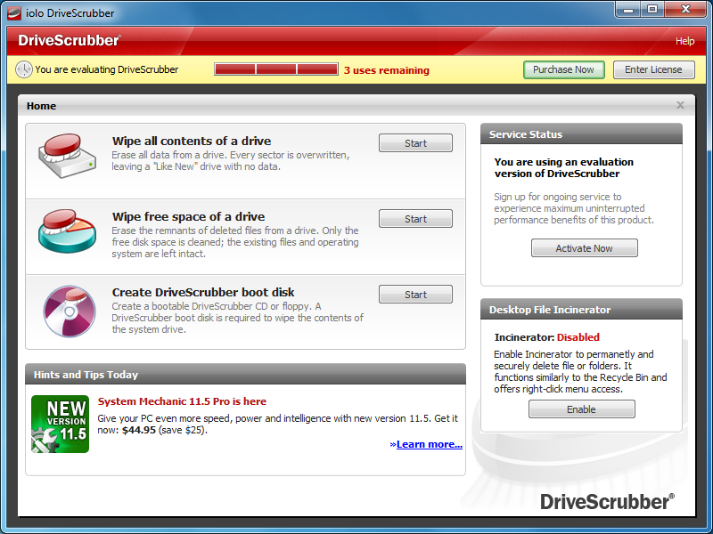 Permanently delete files on PC with DriveScrubber