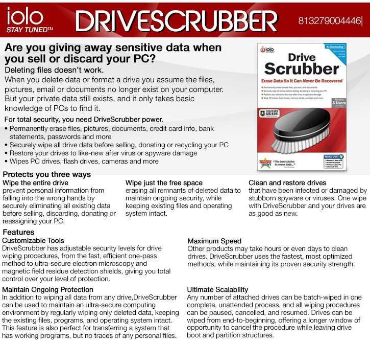 more about DriveScrubber Iolo